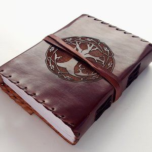 Tree of Life Leather Journal Blank Handmade Paper